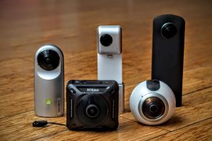 Left to right: LG 360 Cam, Nikon Keymission 360, Insta360 Nano, Samsung Gear 360, Ricoh Theta S