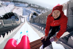 Experience a ski jump in this awesome 360 video shot with the Panasonic GH5, Entaniya 250, and Samsung Gear 360!