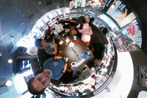 """Here are a couple of low light samples from the Insta360 Air ($129; reviewed here). The first one is a 360 video montage taken in typical indoor lighting. We were eating sushi at a restaurant called Kula (no relationship to the 360 photo sharing website). Besides a conveyor belt with sushi, you can order food on a touchscreen and it is delivered to you by a separate (and faster) conveyor belt. The other interesting thing is that when you return your plates, it shows a short cartoon episode every 5 plates. When you return 15 plates, it shows the ending of the episode and gives you a little prize. :D I edited the video using Collect, a free 360 video editing app (note: I can't see any difference in the image quality between the video edited on Collect and the original unedited video, and the developer said Collect is lossless up to 4k). The second sample is from a restaurant with much dimmer lighting. Not quite as low as """"romantically lit"""" restaurants but quite dimly lit."""