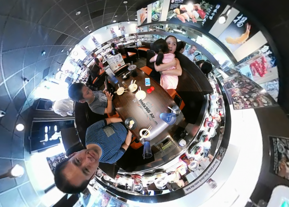 "Here are a couple of low light samples from the Insta360 Air ($129; reviewed here). The first one is a 360 video montage taken in typical indoor lighting. We were eating sushi at a restaurant called Kula (no relationship to the 360 photo sharing website). Besides a conveyor belt with sushi, you can order food on a touchscreen and it is delivered to you by a separate (and faster) conveyor belt. The other interesting thing is that when you return your plates, it shows a short cartoon episode every 5 plates. When you return 15 plates, it shows the ending of the episode and gives you a little prize. :D I edited the video using Collect, a free 360 video editing app (note: I can't see any difference in the image quality between the video edited on Collect and the original unedited video, and the developer said Collect is lossless up to 4k). The second sample is from a restaurant with much dimmer lighting. Not quite as low as ""romantically lit"" restaurants but quite dimly lit."