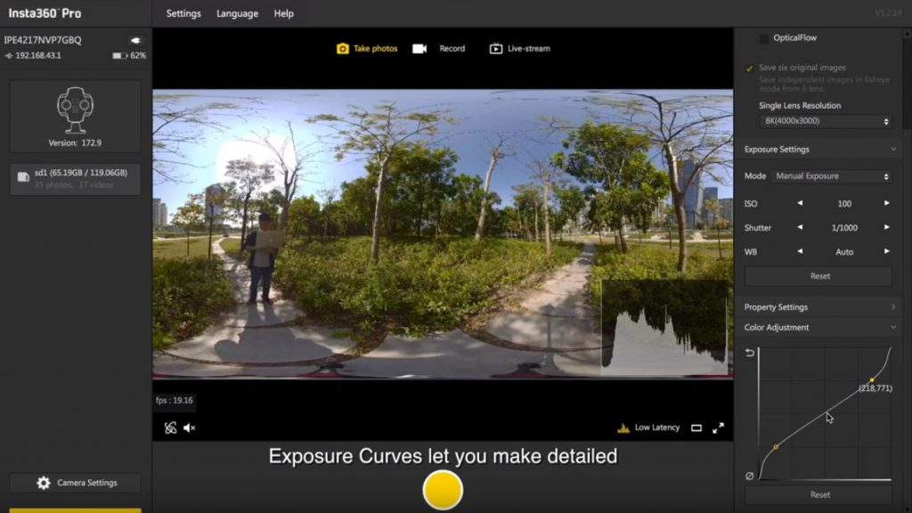 Insta360 Pro v 2.0 Insta360 Stitcher exposure curve