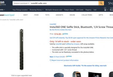 Insta360 selfie stick