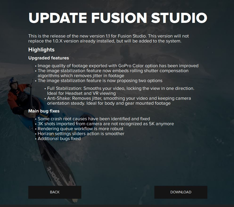 GoPro Fusion January 2018 update