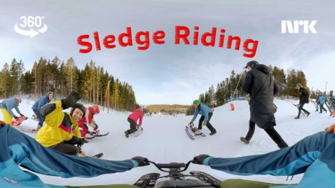 Sled ride in first person 360 video