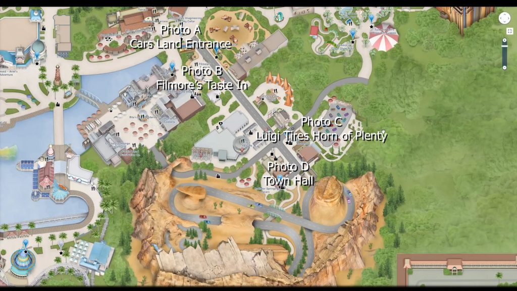 Cars Land map for Kuula virtual tour tutorial