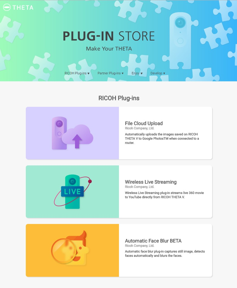 Ricoh Theta V Plug-In Store