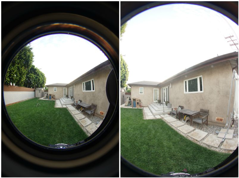 Sigma 8mm on a7R (left) vs. Sigma 8mm on a6000 (right)