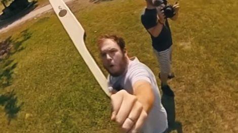 360 camera on an arrow