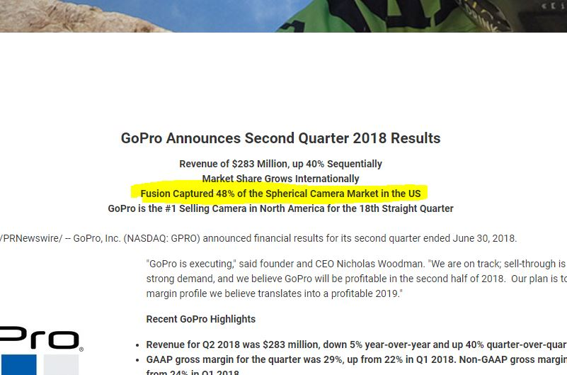 GoPro Fusion Q2 2018 earnings call press release