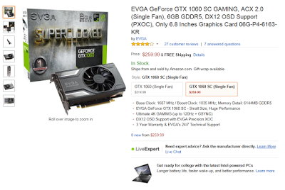 DEALS: VR-ready EVGA GTX 1060 SC in stock at Amazon for