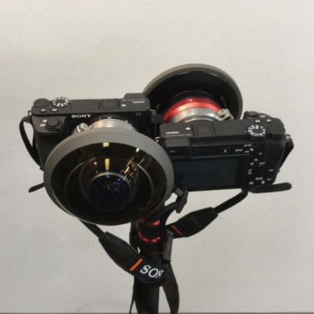 A 360 camera rig with two APS-C Sony a6500 cameras using the