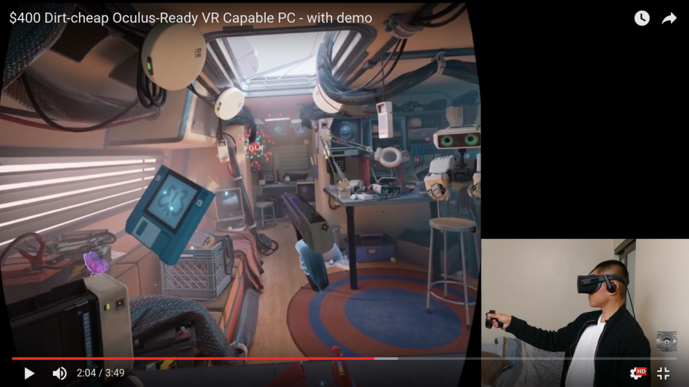 oculus rift demo of $400 cheap vr ready pc gtx 1050 ti