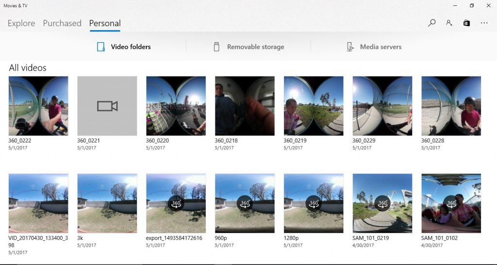 View 360 videos in the Windows 10 Movies & TV app