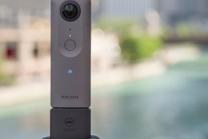 Ricoh Theta V Shown with Microphone Accessory TA-1