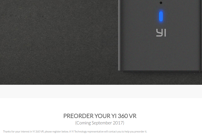 Yi 360 VR release date