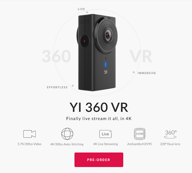 Yi 360 VR adds 4K live streaming