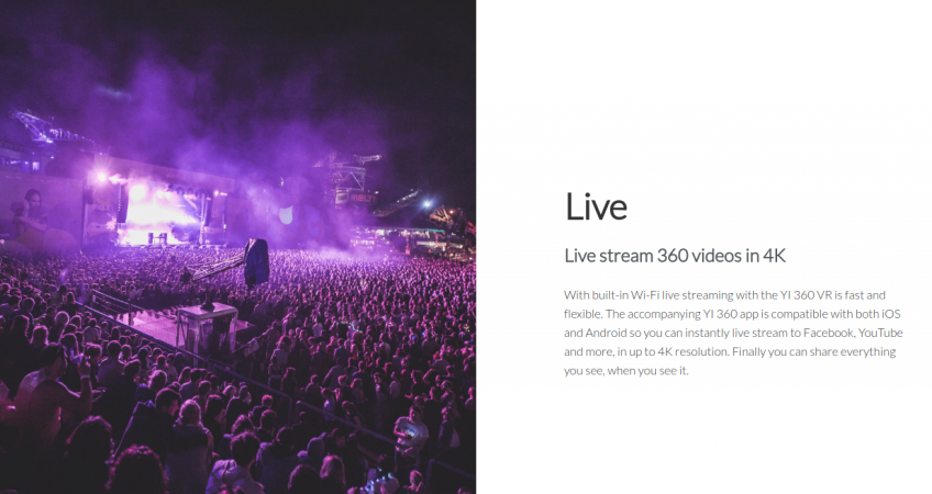 Yi 360 VR live stream upgraded to 4K