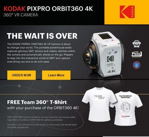 You can now order Kodak PIXPRO Orbit360 (aka 4KVR360) - 360