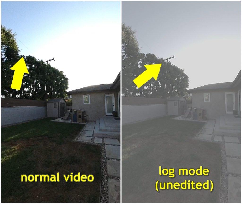 Insta360 ONE log mode has better dynamic range