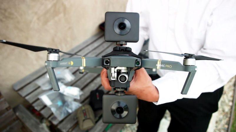 DJI Mavic Pro with dual 360 camera mount