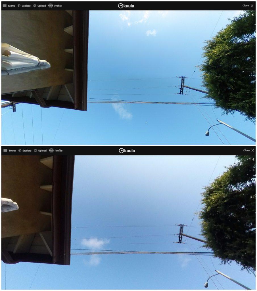 stitching quality comparison (top: Camera A; bottom: Camera B)