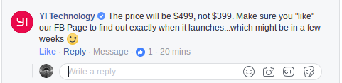 Yi 360 VR price increase