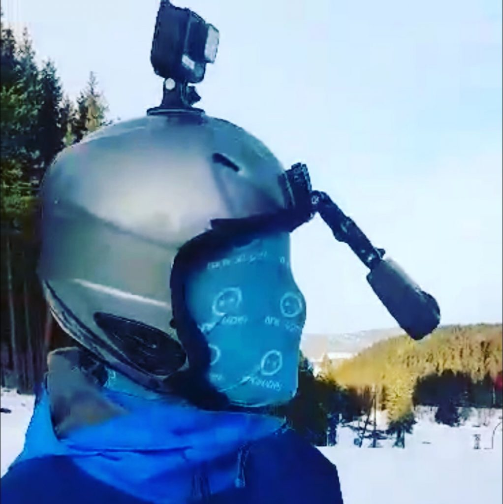 GoPro Fusion attached to helmet