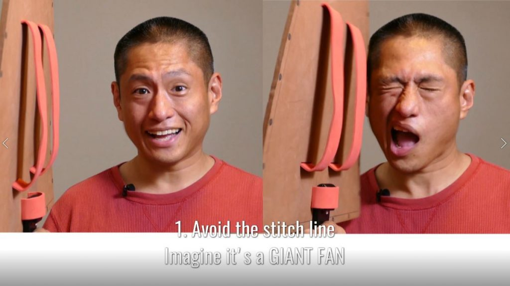 To avoid the stitch line, imagine the 360 camera is a giant fan