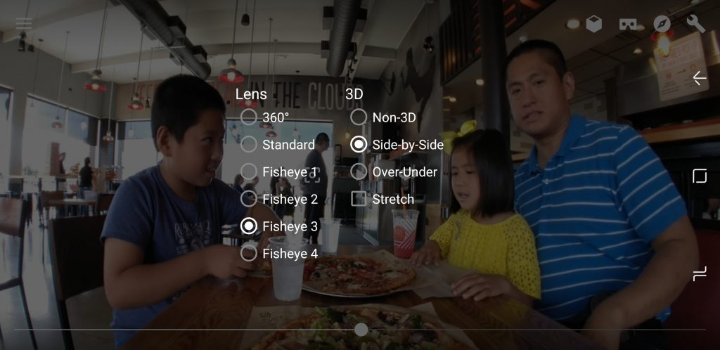 VR Media Player settings for VR180 videos