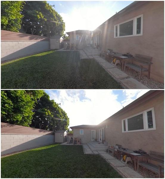 ForeverCam case flare (top) vs bare GoPro Fusion (bottom)