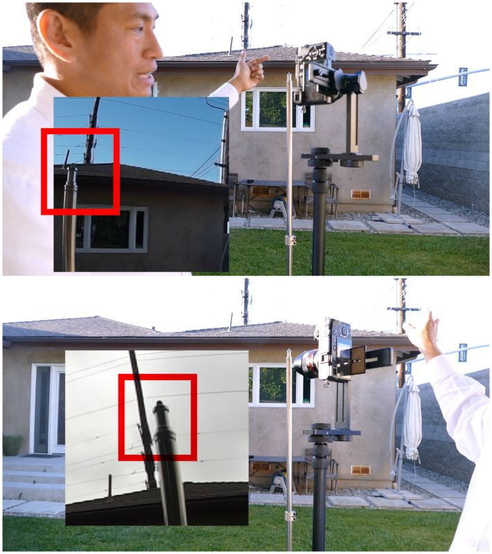 Parallax stitching error. When the camera is aimed to the right, the power pole is to the right of the light stand (top photo). But if the camera is aimed at the left, the power pole is to the right of the light stand (bottom photo)