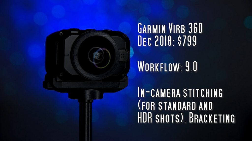 Garmin Virb 360 has in-camera stitching for both standard and HDR photos, plus bracketing