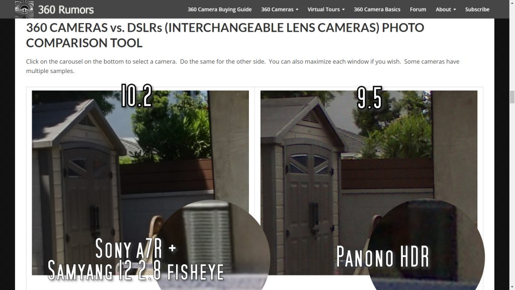 Sony a7R with the Samyang 12 2.8 fisheye produces much more detailed photos than the Panono