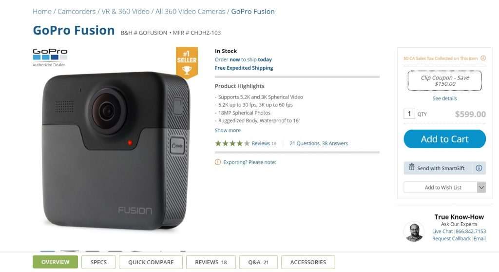 GoPro Fusion discount: $449 ($150 off) for a limited time