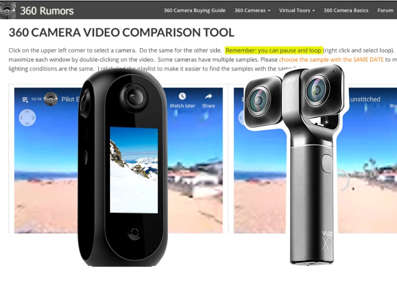 Pilot Era and Vuze XR sample videos added to Ultimate 360 Camera Comparison Tool