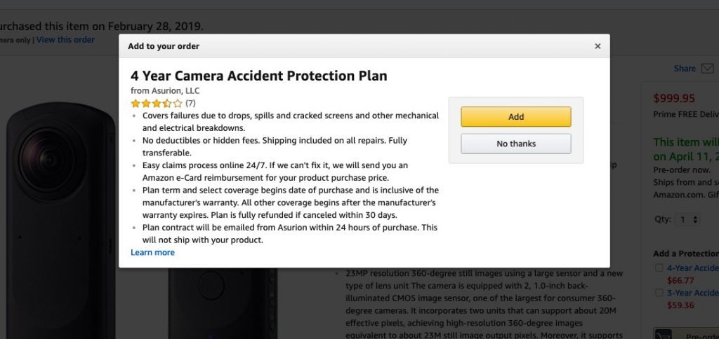 Amazon offers a 4-yr accident protection plan for Theta Z1