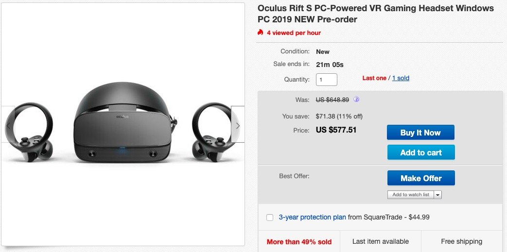 Oculus Rift S sold on eBay