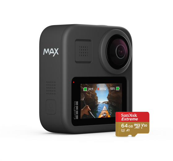 Review photos and videos on GoPro Max's large touchscreen