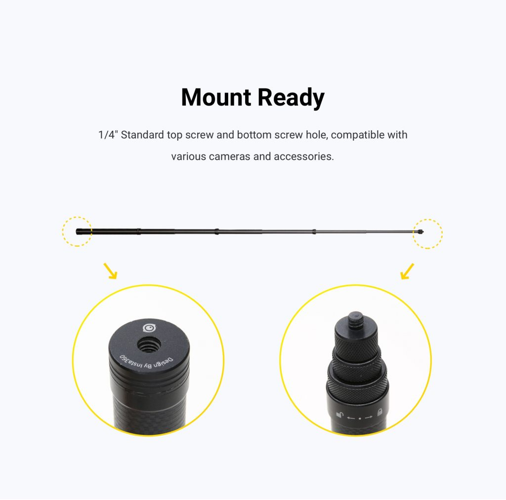 Insta360 Carbon Fiber Selfie Stick tripod connector and tripod hole