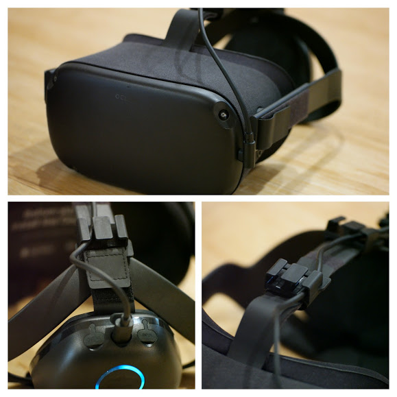 VR Power routs the included right angle USB Type C cable through the top of the quest with two clips