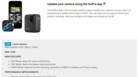 GoPro MAX update 1.5 adds 3k 60fps mode
