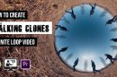 Infinite loop of clones walking around a tiny planet