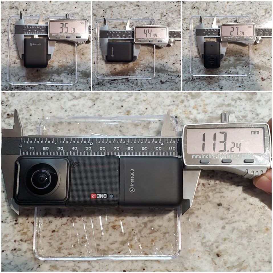 Insta360 One R vertical battery dimensions