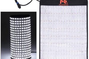 Falconeyes flexible LED panel converts to a 360 camera light