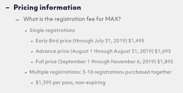 An Adobe MAX 2019 conference pass cost as much as $1895