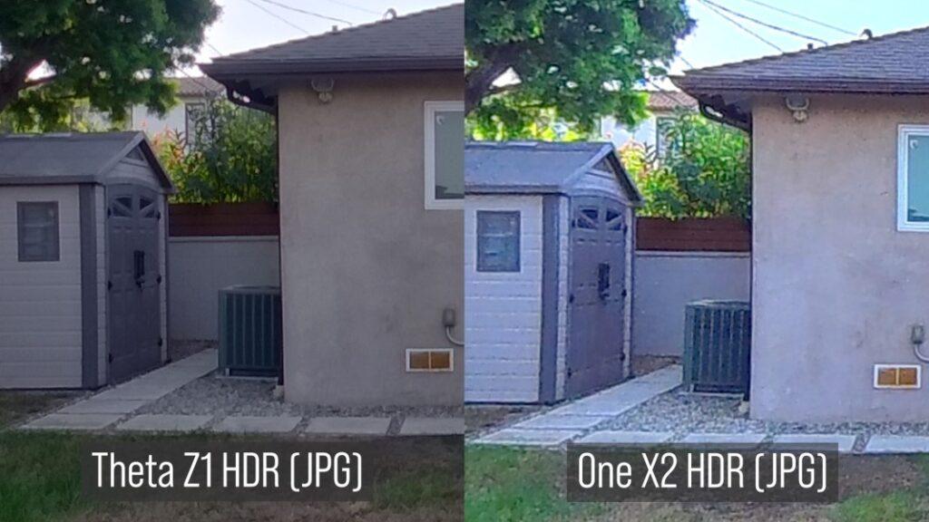 Theta Z1 HDR JPG (left) vs One X2 HDR (JPG)